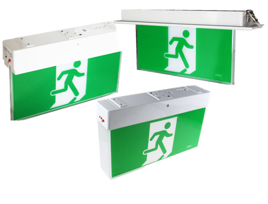 Standard exit lights with eco-saving high temperature Lithium batteries